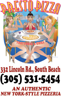 Presto Pizza italian restaurants delivery Miami south Beach sobe 305-531-5454