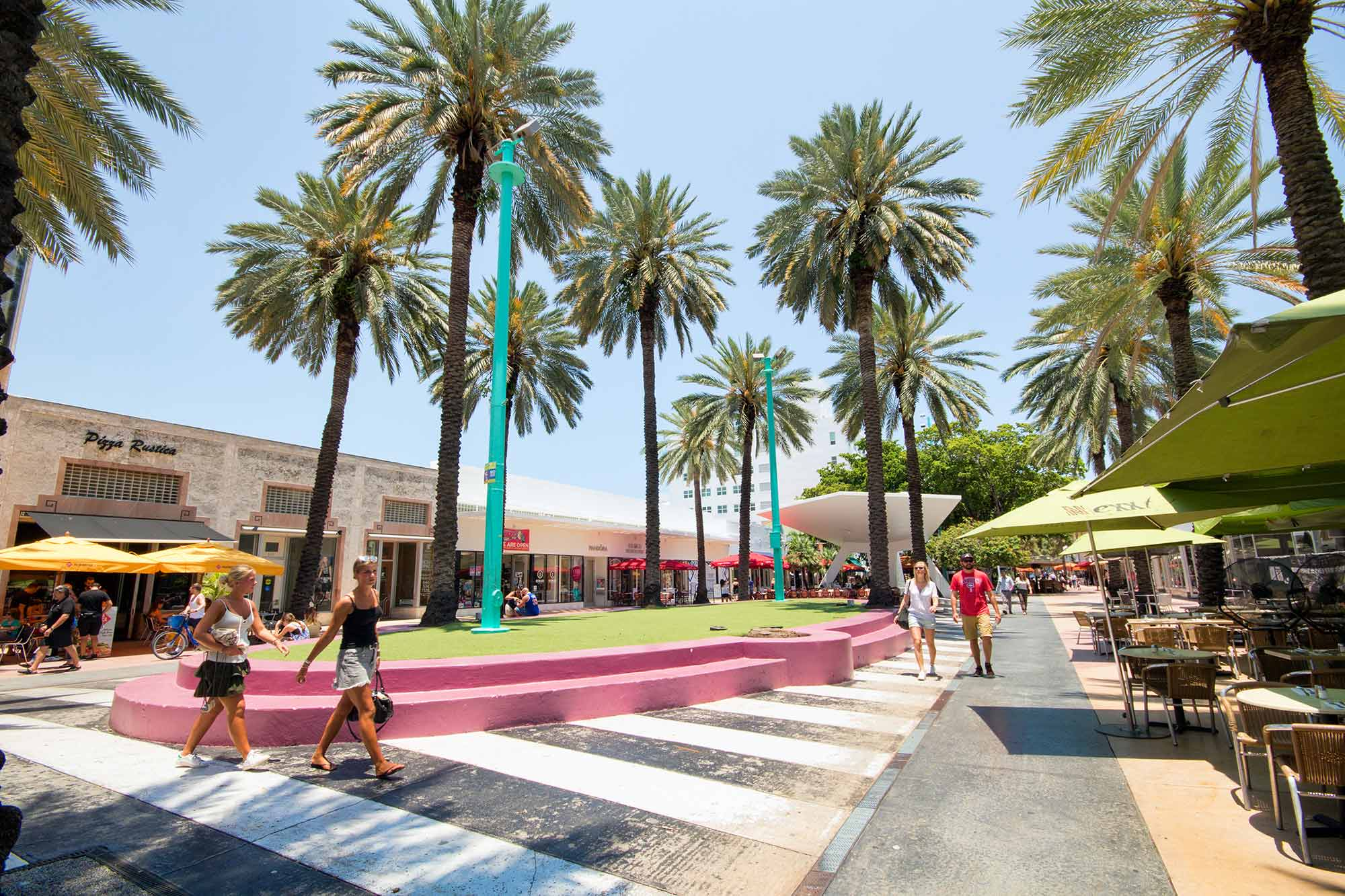 Miami Beach, FL, USA. Lincoln Road is where Miami comes together – to shop, to dine, to celebrate. With over designer boutiques, local merchants, national retail stores, and an outstanding selection of fine restaurants and bars there is something for everyone to enjoy.